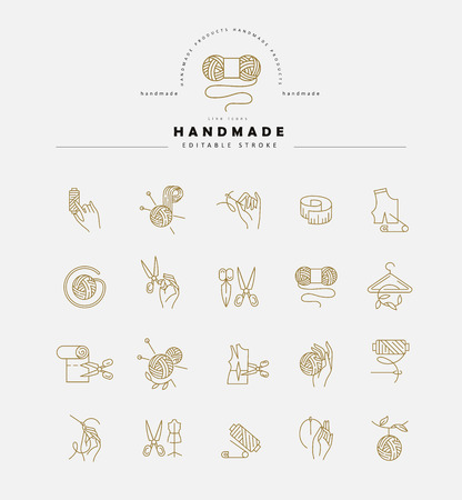 Vector icon and logo sewing and handmade. Editable outline stroke size. Line flat contour, thin and linear design. Simple icons. Concept illustration. Sign, symbol, element. Stok Fotoğraf - 113854932