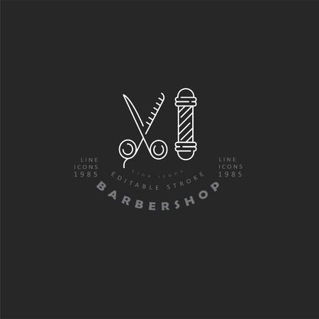 Vektorsymbol und Logo für Friseursalon und Schönheitssalon. Bearbeitbare Konturstrichgröße. Linie flache Kontur, dünnes und lineares Design. Einfache Symbole. Konzept-Abbildung. Zeichen, Symbol, Element.