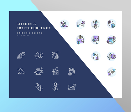 Vector icon and logo bitcoin and cryptocurrency. Editable outline stroke size. Line flat contour, thin and linear design. Simple icons. Concept illustration. Sign, symbol, element.