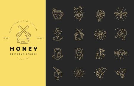 Icône de vecteur et logo miel. Taille de trait de contour modifiable. Ligne contour plat, design fin et linéaire. Icônes simples. Illustration de la notion. Signe, symbole, élément.