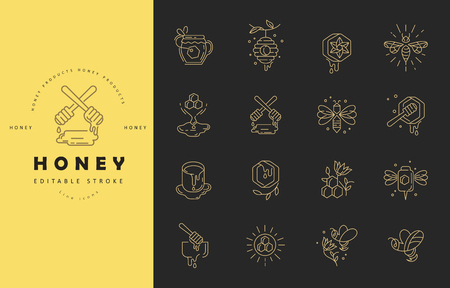 Vector icon and logo honey. Editable outline stroke size. Line flat contour, thin and linear design. Simple icons. Concept illustration. Sign, symbol, element. Illustration