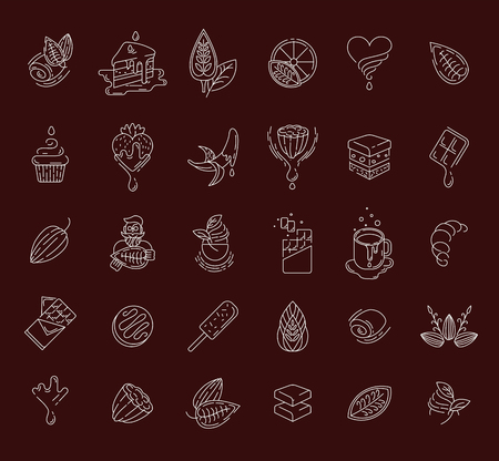 Vector icon and logo for chocolate and sweet. Editable outline stroke size. Line flat contour, thin and linear design. Simple icons. Concept illustration. Sign, symbol, element. Stock Vector - 113855064