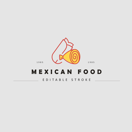 Vector icon and logo for mexican food. Editable outline stroke size. Line flat contour, thin and linear design. Simple icons. Concept illustration. Sign, symbol, element. Logo