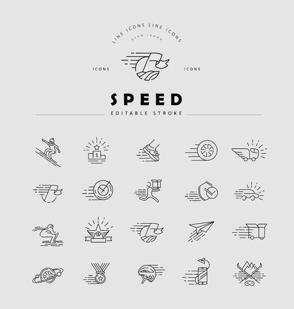 Vector icon and logo for speed motion. Editable outline stroke size. Line flat contour, thin and linear design. Simple icons. Concept illustration. Sign, symbol, element. Stock fotó - 113855408
