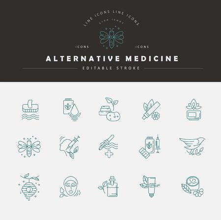 Icono de vector y logo para medicina alternativa. Tamaño de trazo de contorno editable. Línea de contorno plano, diseño delgado y lineal. Iconos simples. Ilustración de concepto. Signo, símbolo, elemento.
