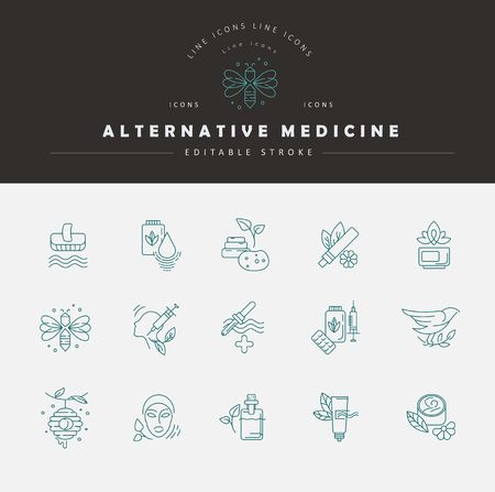 Vector icon and logo for alternative medicine. Editable outline stroke size. Line flat contour, thin and linear design. Simple icons. Concept illustration. Sign, symbol, element. Ilustração