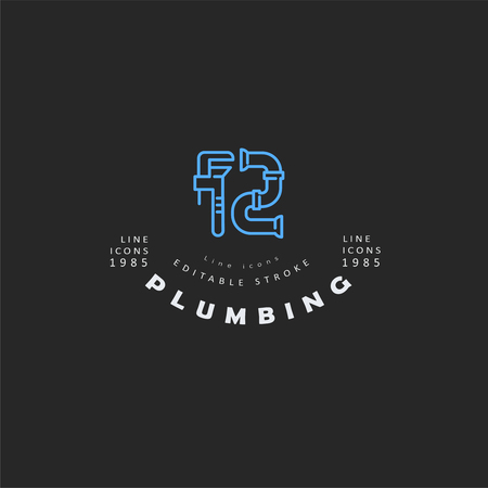 Vector icon and logo of plumbing. Editable outline stroke size. Line flat contour, thin and linear design. Simple icons. Concept illustration. Sign, symbol, element. Foto de archivo - 113855455