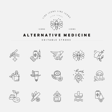 Vector icon and logo for alternative medicine. Editable outline stroke size. Line flat contour, thin and linear design. Simple icons. Concept illustration. Sign, symbol, element. Vettoriali