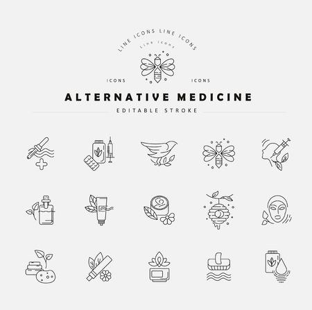 Vektorsymbol und Logo für Alternativmedizin. Bearbeitbare Konturstrichgröße. Linie flache Kontur, dünnes und lineares Design. Einfache Symbole. Konzept-Abbildung. Zeichen, Symbol, Element.