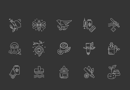 Vector icon and logo for alternative medicine. Editable outline stroke size. Line flat contour, thin and linear design. Simple icons. Concept illustration. Sign, symbol, element. 일러스트