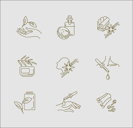 Icona di vettore e logo per l'aromaterapia. Dimensione del tratto modificabile del contorno. Linea contorno piatto, design sottile e lineare. Icone semplici. Illustrazione di concetto. Segno, simbolo, elemento.