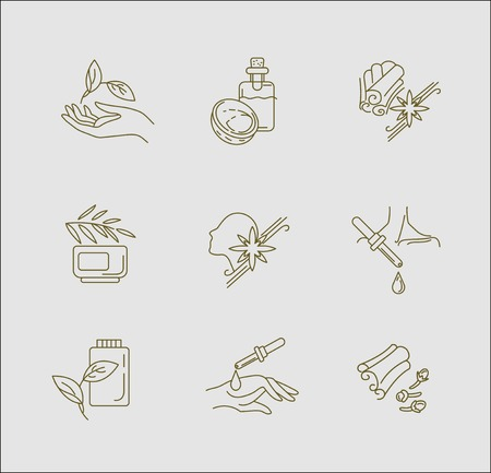 Vector icon and logo for aromatherapy. Editable outline stroke size. Line flat contour, thin and linear design. Simple icons. Concept illustration. Sign, symbol, element.