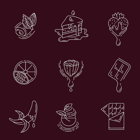 Vector icon and logo for chocolate and sweet. Editable outline stroke size. Line flat contour, thin and linear design. Simple icons. Concept illustration. Sign, symbol, element. Stock Vector - 113855491