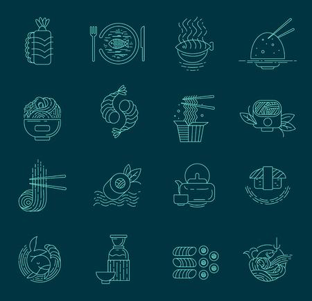 Icône vectorielle et logo pour la cuisine asiatique, japonaise et les fruits de mer. Taille de trait de contour modifiable. Ligne contour plat, design fin et linéaire. Icônes simples. Illustration de la notion. Signe, symbole, élément.