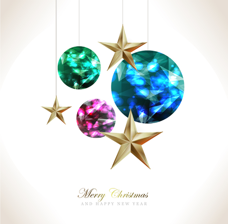 Elegant Christmas and happy New Year Background with Gold Shining decoration. Vector illustration Stock Vector - 126834295