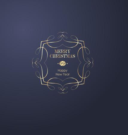 Eleganter Weihnachts- und guten Rutsch ins Neue Jahr-Hintergrund mit Goldglänzender Dekoration. Vektor-Illustration Vektorgrafik