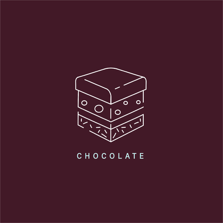 Vector icon and logo for chocolate and sweet. Editable outline stroke size. Line flat contour, thin and linear design. Simple icons. Concept illustration. Sign, symbol, element. Stock Vector - 113855564