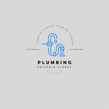 Vector icon and logo of plumbing. Editable outline stroke size. Line flat contour, thin and linear design. Simple icons. Concept illustration. Sign, symbol, element.