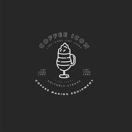 Vector icon and logo for coffee making equipment. Editable outline stroke size. Line flat contour, thin and linear design. Simple icons. Concept illustration. Sign, symbol, element. Banco de Imagens - 113855587