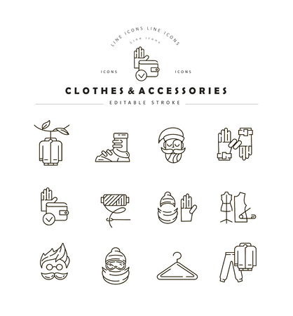 Vector icon and logo for clothes and accessories. Editable outline stroke size. Line flat contour, thin and linear design. Simple icons. Concept illustration. Sign, symbol, element. Banque d'images - 113855625