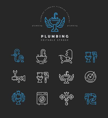 Vector icono y logo de fontanería. Tamaño de trazo de contorno editable. Línea de contorno plano, diseño delgado y lineal. Iconos simples. Ilustración de concepto. Signo, símbolo, elemento. Logos