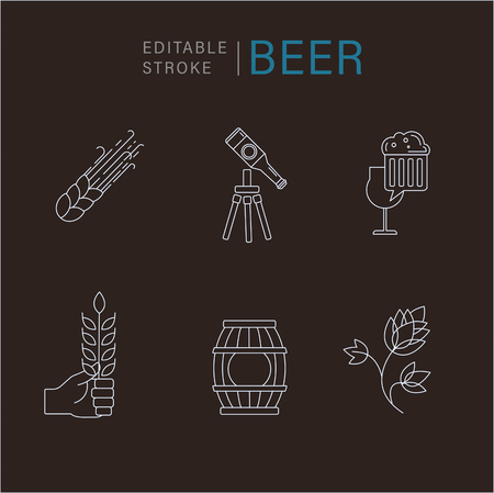 Vector icon and logo beer and brewery. Editable outline stroke size. Line flat contour, thin and linear design. Simple icons. Concept illustration. Sign, symbol, element. Logo