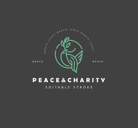 Vector icon and logo peace and charity. Editable outline stroke size. Line flat contour, thin and linear design. Simple icons. Concept illustration. Sign, symbol, element. Illustration