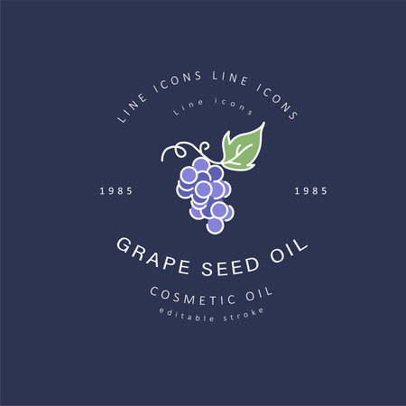 Vector icon and logo for natural cosmetics oil care dry skin. Editable outline stroke size. Line flat contour, thin and linear design. Simple icons. Concept illustration. Sign, symbol, element.  イラスト・ベクター素材