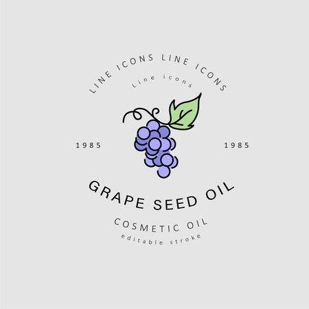 Vector icon and logo for natural cosmetics oil care dry skin. Editable outline stroke size. Line flat contour, thin and linear design. Simple icons. Concept illustration. Sign, symbol, element. Illustration