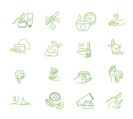 Vector icon and logo for natural cosmetics and care dry skin. Editable outline stroke size. Line flat contour, thin and linear design. Simple icons. Concept illustration. Sign, symbol, element. Illustration