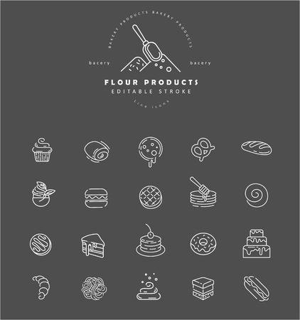 Vektorsymbol und Logo für natürliches Mehlprodukt und Bäckerei. Bearbeitbare Konturstrichgröße. Linie flache Kontur, dünnes und lineares Design. Einfache Symbole. Konzept-Abbildung. Zeichen, Symbol, Element. Logo