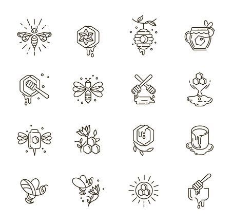 Vector icon and logo honey. Editable outline stroke size. Line flat contour, thin and linear design. Simple icons. Concept illustration. Sign, symbol, element.  イラスト・ベクター素材