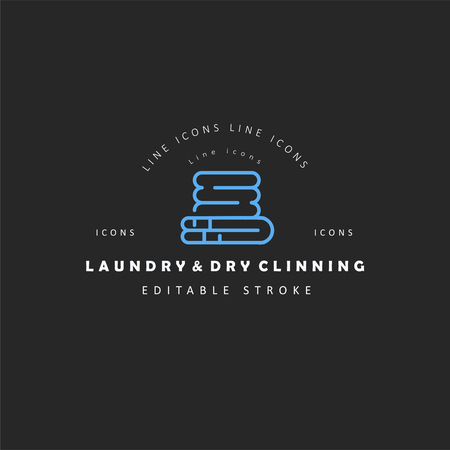 Vector icon and logo for laundry and dry clinning. Editable outline stroke size. Line flat contour, thin and linear design. Simple icons. Concept illustration. Sign, symbol, element.