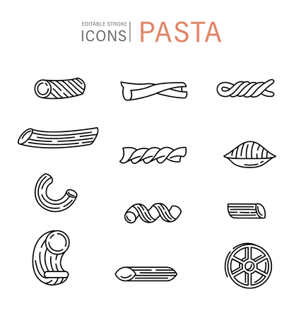 Vector icon and logo for italian pasta or noodles. Editable outline stroke size. Line flat contour, thin and linear design. Simple icons. Concept illustration. Sign, symbol, element. Illustration