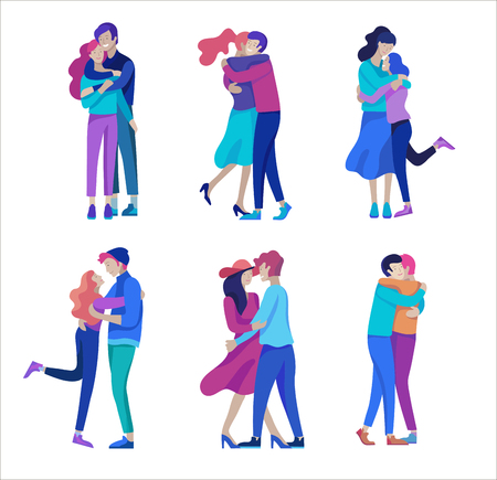 Vector people character. Friends and couple hugging, walking and spend time tygether. Colorful flat concept illustration. Foto de archivo - 113855987