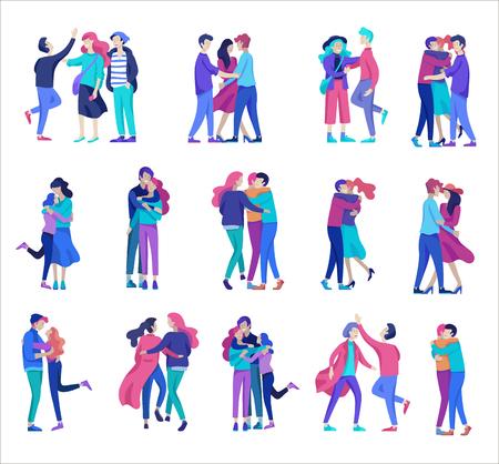 Carácter de la gente del vector. Amigos y pareja abrazándose, caminando y pasando tiempo juntos. Ilustración colorida del concepto plano. Ilustración de vector