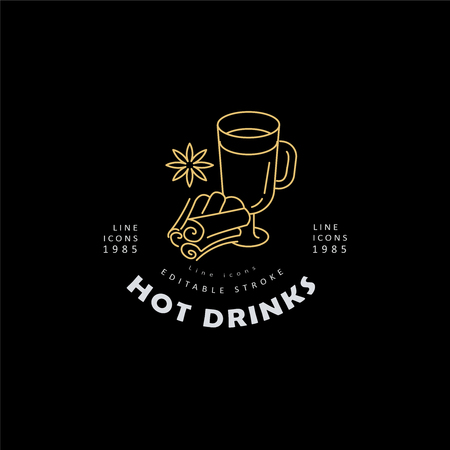 Vector icon and logo hot drinks for cold weather, merry Christmas and Happy New Year . Editable outline stroke size. Line flat contour, thin and linear design. Simple icons. Concept illustration. Sign, symbol, element. Çizim