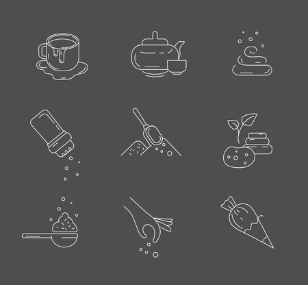 Vector icon and logo for spices and herbs. Editable outline stroke size. Line flat contour, thin and linear design. Simple icons. Concept illustration. Sign, symbol, element.