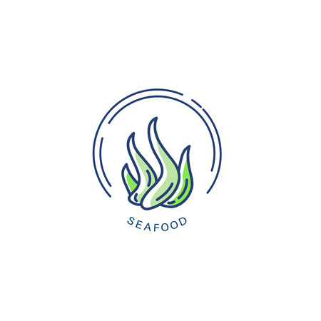Vector icon and logo for seafood restaurant or cafe. Editable outline stroke size. Line flat contour, thin and linear design. Simple icons. Concept illustration. Sign, symbol, element. Illustration