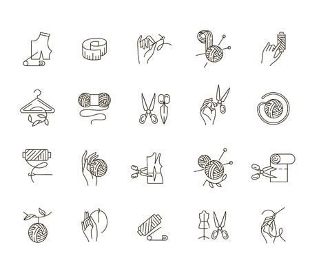 Vektorsymbol und Logo nähen und handgefertigt. Bearbeitbare Konturstrichgröße. Linie flache Kontur, dünnes und lineares Design. Einfache Symbole. Konzept-Abbildung. Zeichen, Symbol, Element.