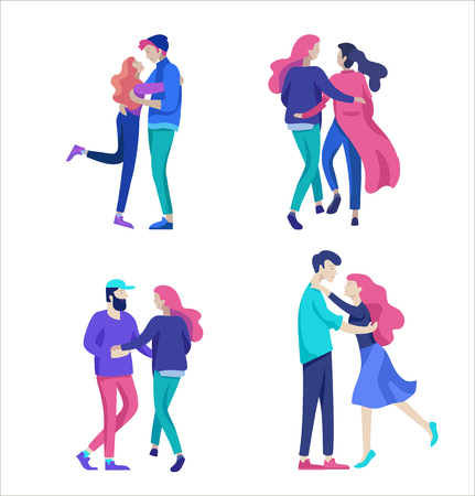 Vector people character. Friends and couple hugging, walking and spend time tygether. Colorful flat concept illustration. Foto de archivo - 113856201