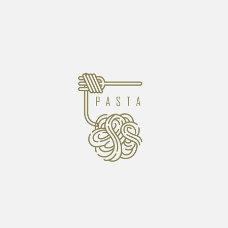 Vector icon and logo for italian pasta or noodles. Editable outline stroke size. Line flat contour, thin and linear design. Simple icons. Concept illustration. Sign, symbol, element. Vettoriali
