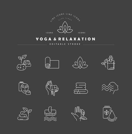 Icona di vettore e logo per lo yoga o il relax. Dimensione del tratto modificabile del contorno. Linea contorno piatto, design sottile e lineare. Icone semplici. Illustrazione di concetto. Segno, simbolo, elemento. Logo