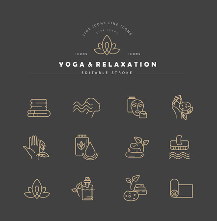 Vector icon and logo for yoga or relaxation. Editable outline stroke size. Line flat contour, thin and linear design. Simple icons. Concept illustration. Sign, symbol, element.