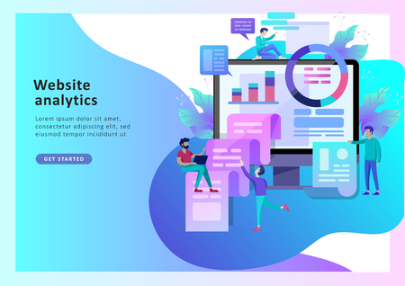 Concept illustration of business, office workers analysis of the evolutionary scale, SEO, market research Web site coding, internet search optimization. Landing page template, social media