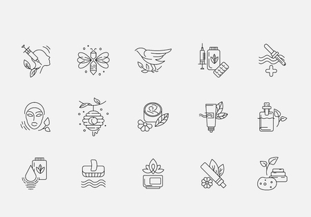 Vector icon and logo for alternative medicine. Editable outline stroke size. Line flat contour, thin and linear design. Simple icons. Concept illustration. Sign, symbol, element. Banque d'images - 113856256