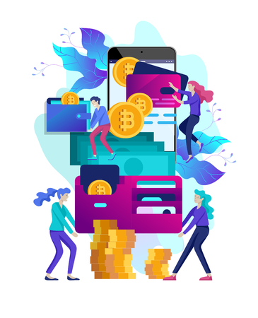 Cryptocurrency and blockchain composition with people, analysts and managers working on crypto start up  イラスト・ベクター素材