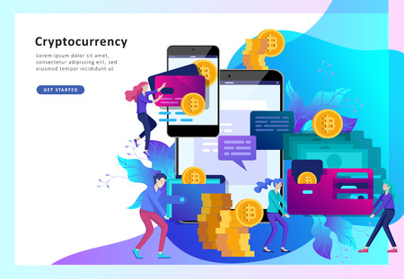 Cryptocurrency and blockchain composition with people, analysts and managers working on crypto start up Vector Illustration