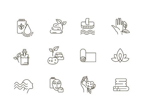 Icona di vettore e logo per lo yoga o il relax. Dimensione del tratto modificabile del contorno. Linea contorno piatto, design sottile e lineare. Icone semplici. Illustrazione di concetto. Segno, simbolo, elemento.