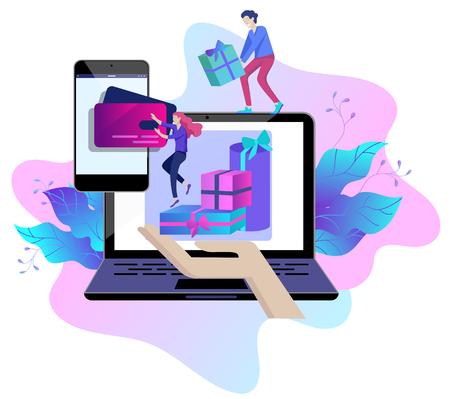 Bestemmingspaginasjabloon van online winkelende mensen en mobiele betalingen. Vectorillustratie pos-terminal bevestigt de betaling met behulp van een smartphone, mobiele betaling, online bankieren.